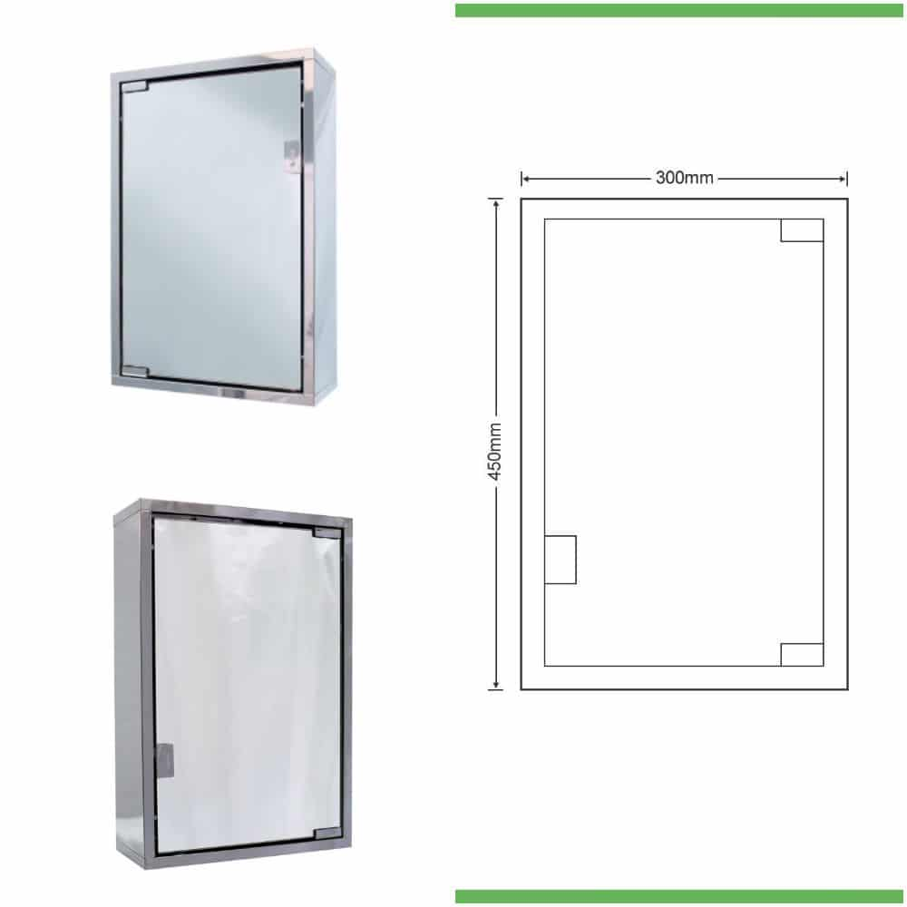 Single door wall hung mirror cabinet 300mm wide for Bathroom cabinets 500mm wide