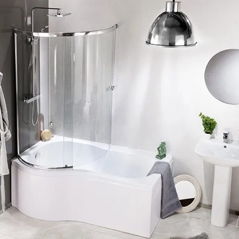 1700mm P Shape Shower Bath Full Screen Left Or Right Hand Cheeky