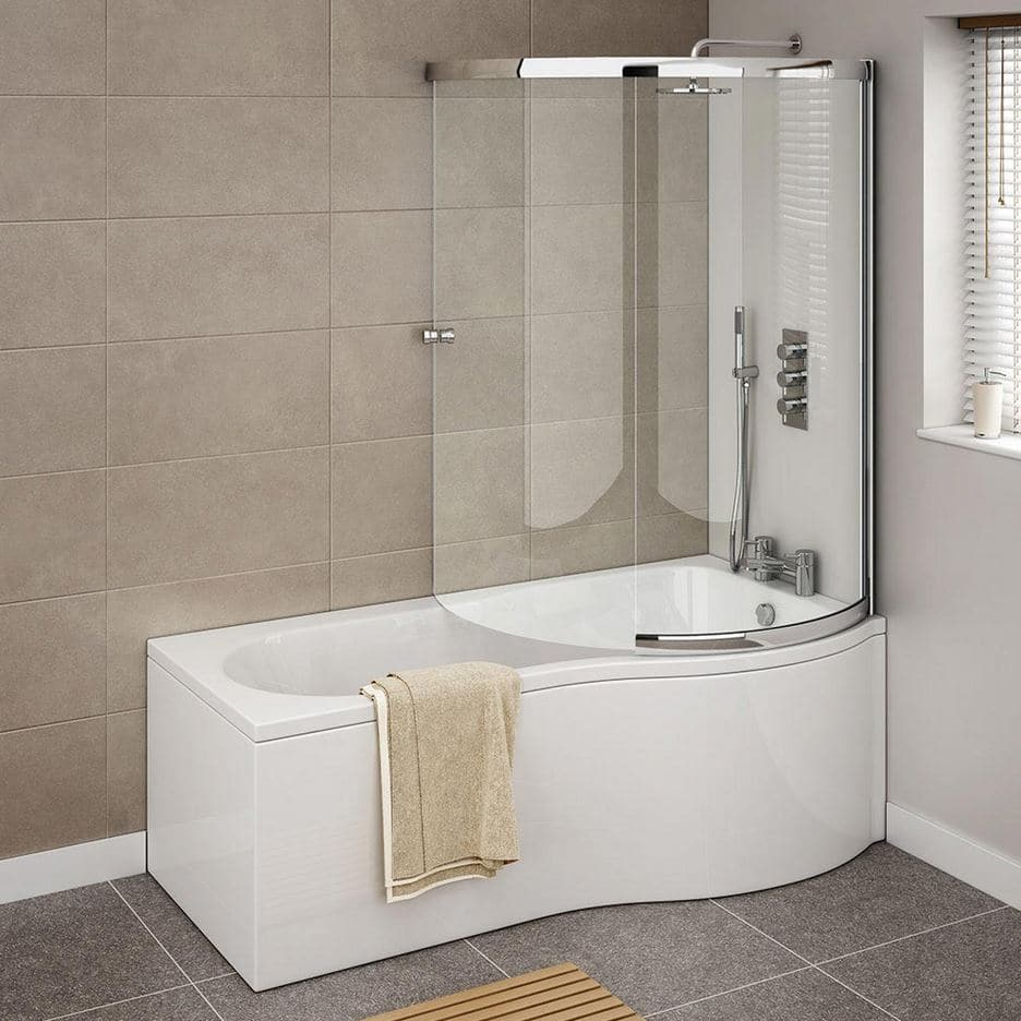 1700mm P Shape Shower Bath Full Screen Left or Right Hand - Cheeky ...