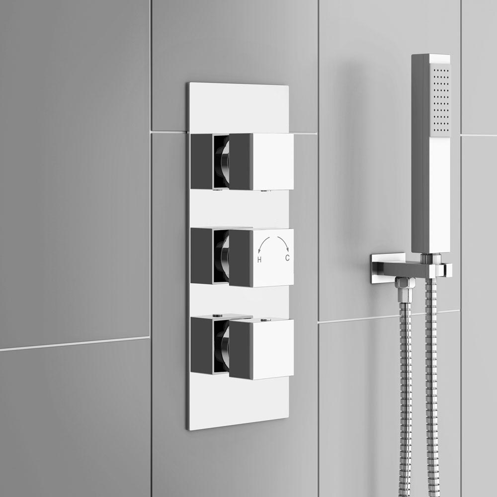 Istra Triple Concealed Square Shower Valve - Chrome - Cheeky Bathrooms