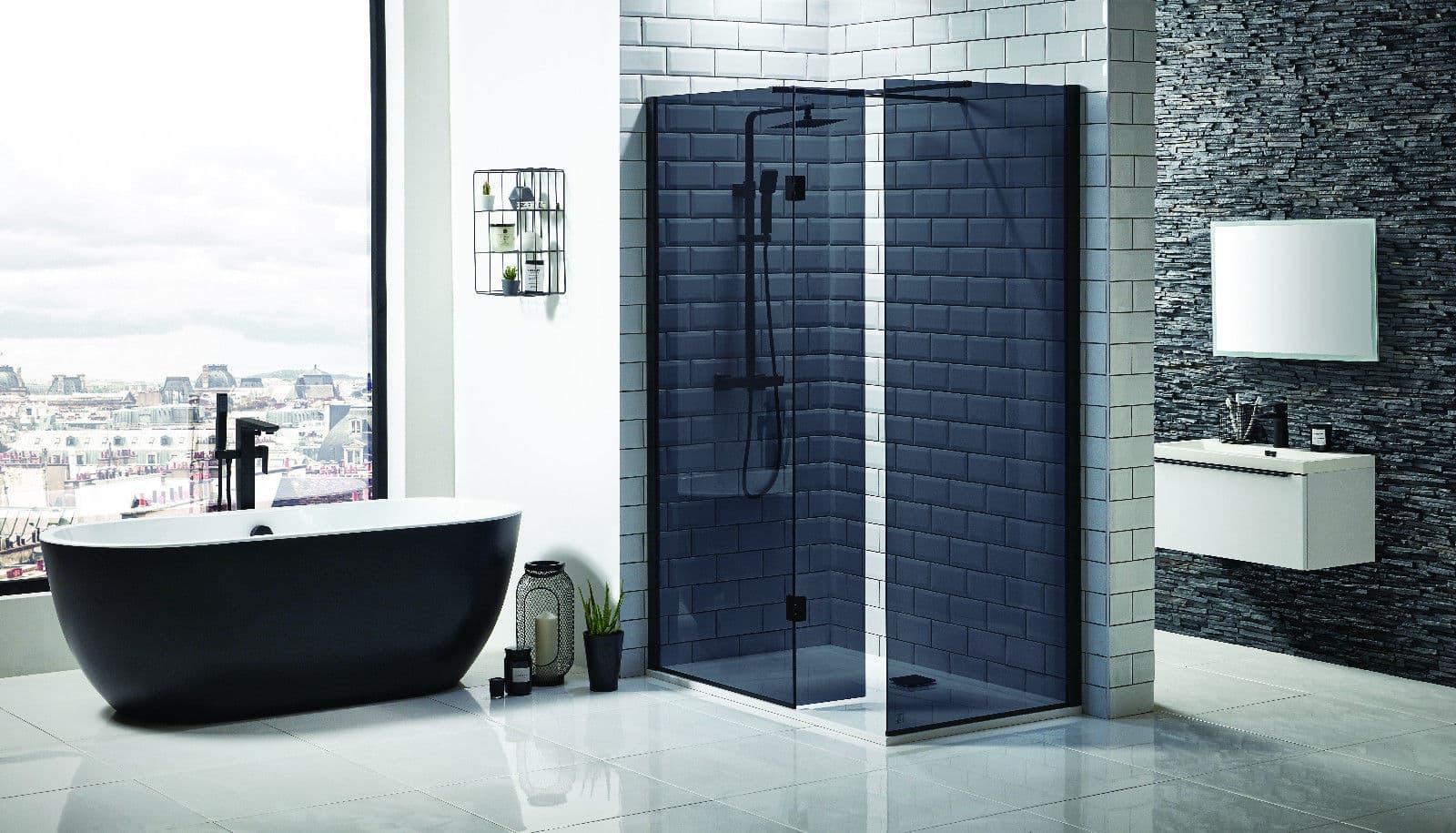 Mono Black Glass Wetroom Panels 8mm - Cheeky Bathrooms