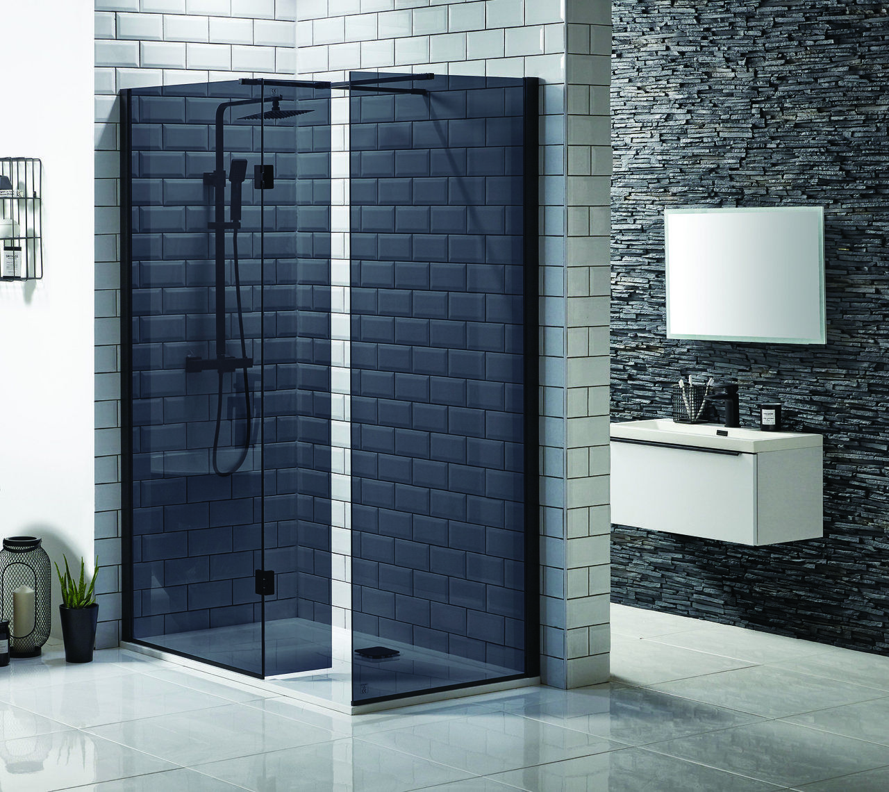 Mono Black Glass Wetroom Panels 8mm - Cheeky Bathrooms