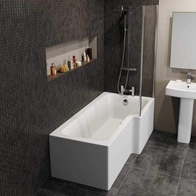 Home Architec Ideas 1500mm L Shaped Shower Bath